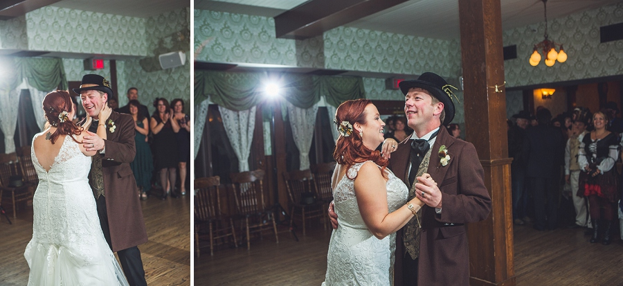 bride and groom dancing calgary steampunk wedding photographer anna michalska heritage park