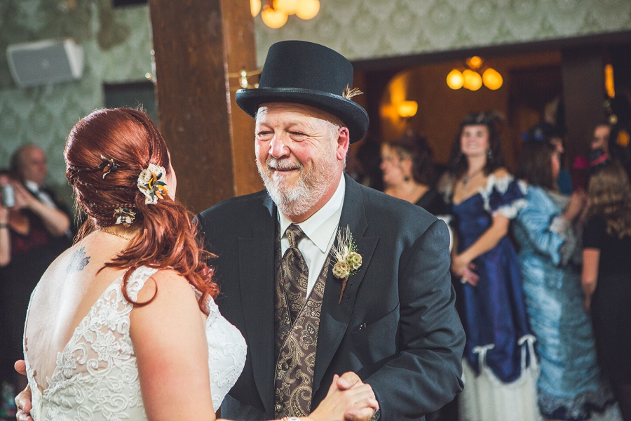 bride dancing with father calgary steampunk wedding photographer anna michalska heritage park