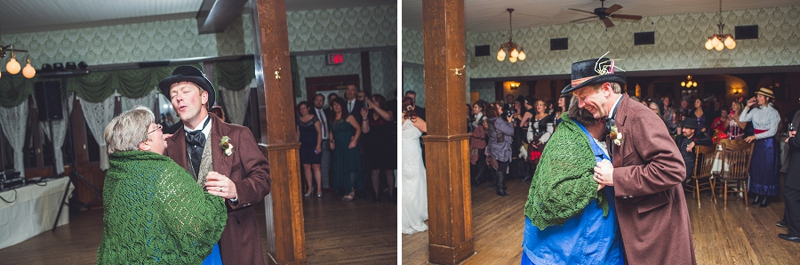groom dancing with mother calgary steampunk wedding photographer anna michalska heritage park