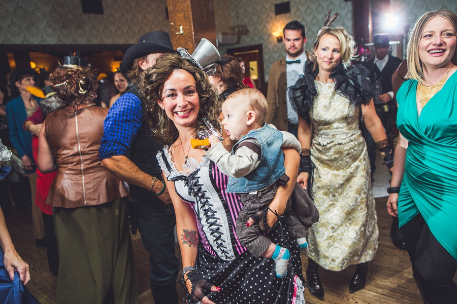 calgary steampunk wedding photographer anna michalska heritage park guests dancing