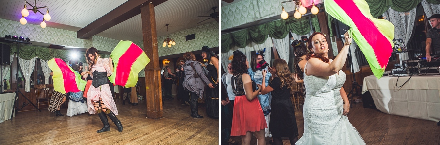 guests and bride dancing with streamers calgary steampunk wedding photographer anna michalska heritage park
