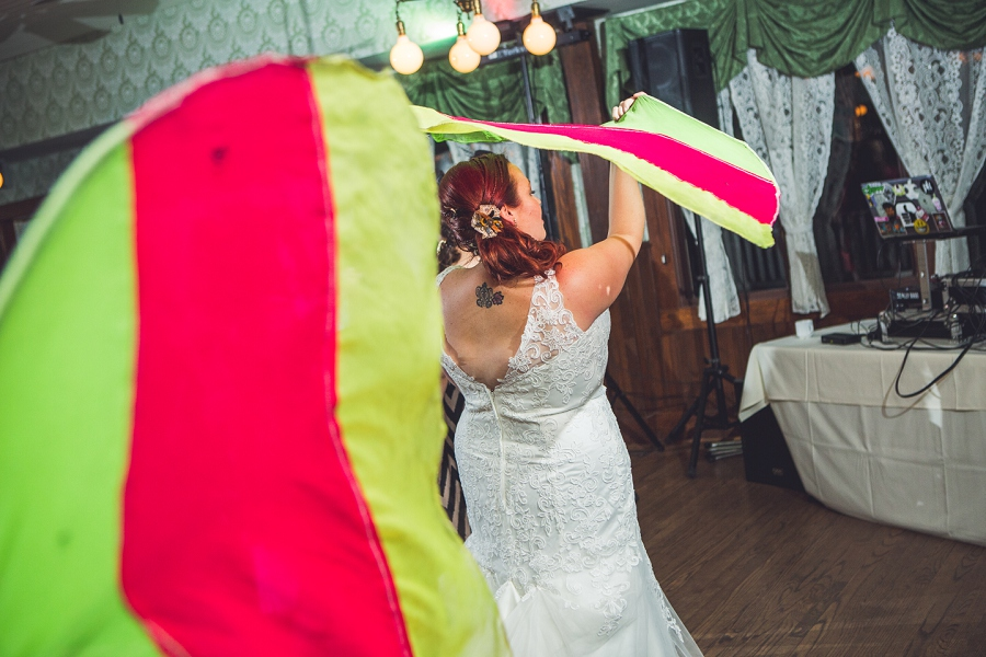 bride dancing with streamers calgary steampunk wedding photographer anna michalska heritage park