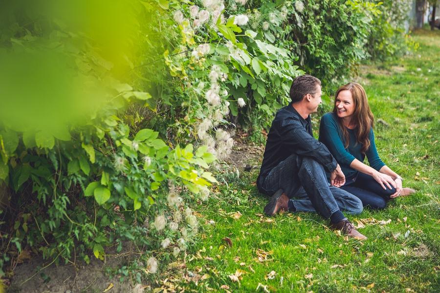 wedding anniversary photography session calgary fall green shrubs