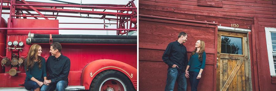 wedding anniversary photography session calgary red firetruck wood barn