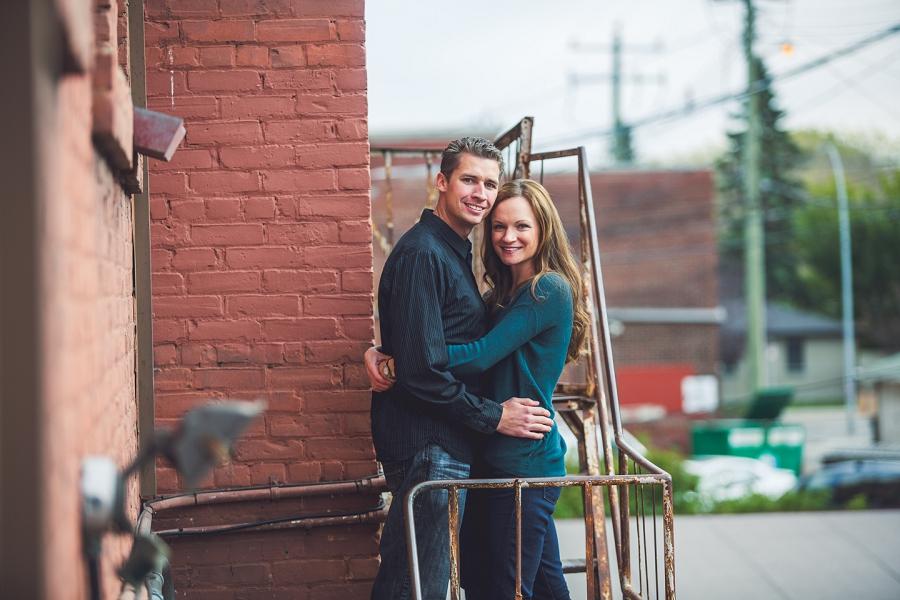 stairway couple red brick inglewood wedding anniversary photography session calgary