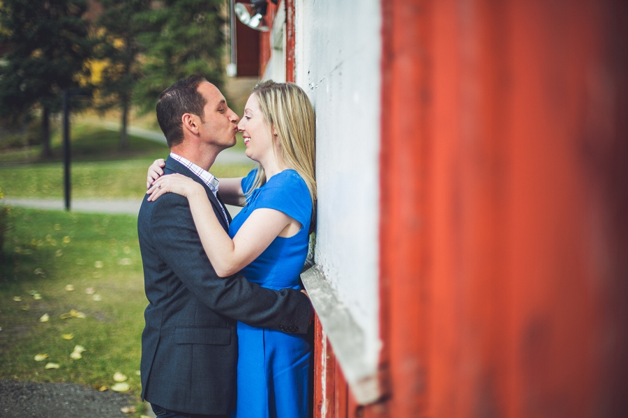 kiss on the nose fish creek park calgary engagement photographer anna michalska red barn