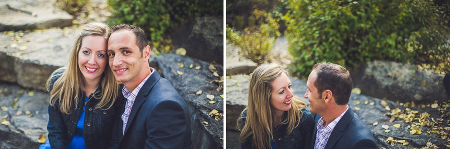 fish creek park calgary engagement photographer anna michalska sitting on stones