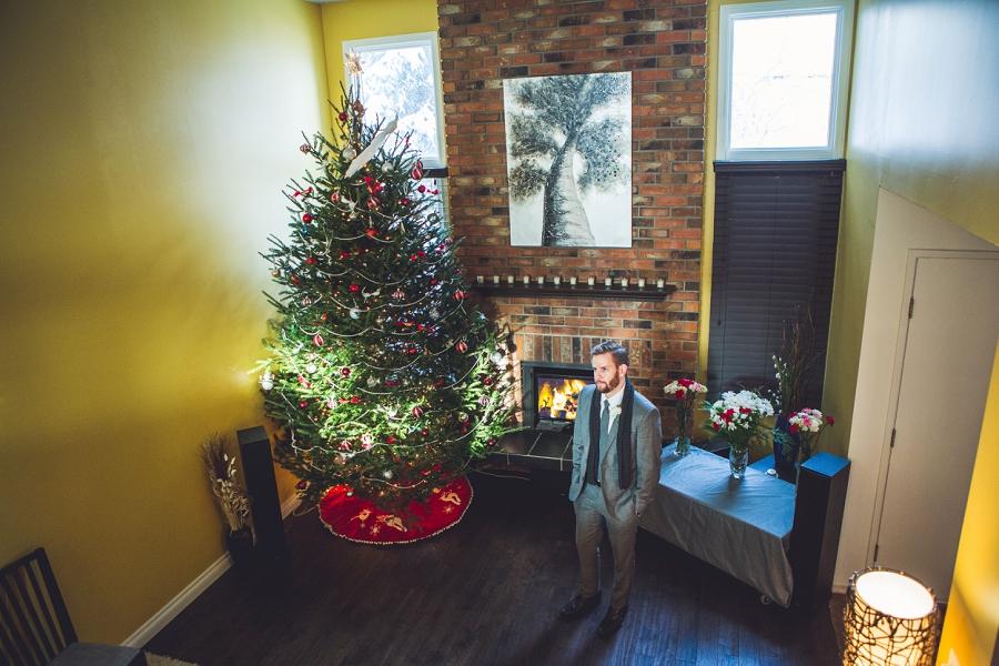 groom waiting on bride christmas wedding calgary wedding photographer anna michalska