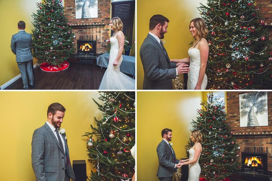 bride and groom first look christmas wedding calgary wedding photographer anna michalska