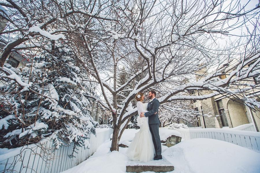 christmas wedding snow on tree bride groom calgary wedding photographer anna michalska