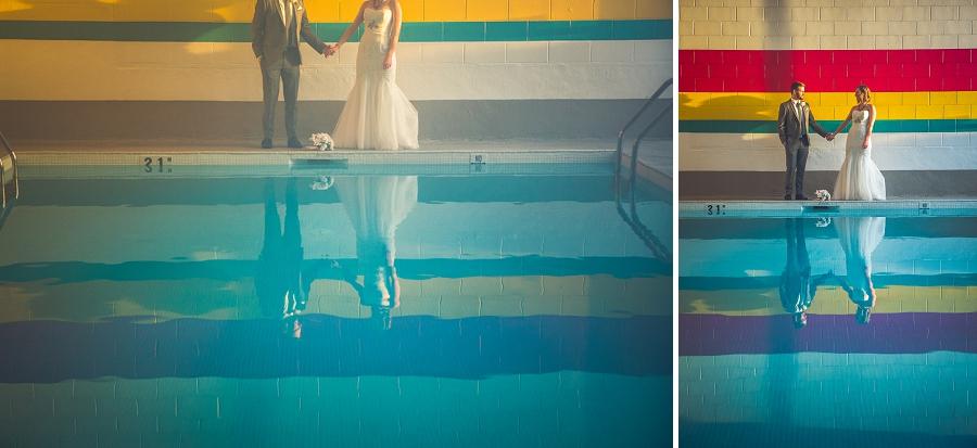 pool reflection bride groom calgary wedding photographer anna michalska