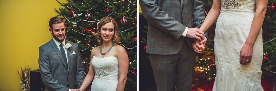 bride and groom wedding ceremony christmas tree calgary wedding photographer anna michalska