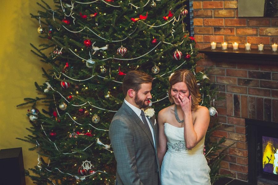 bride tears during ceremony calgary wedding photographer anna michalska