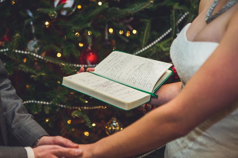 hand written vows book calgary winter wedding anna michalska photography