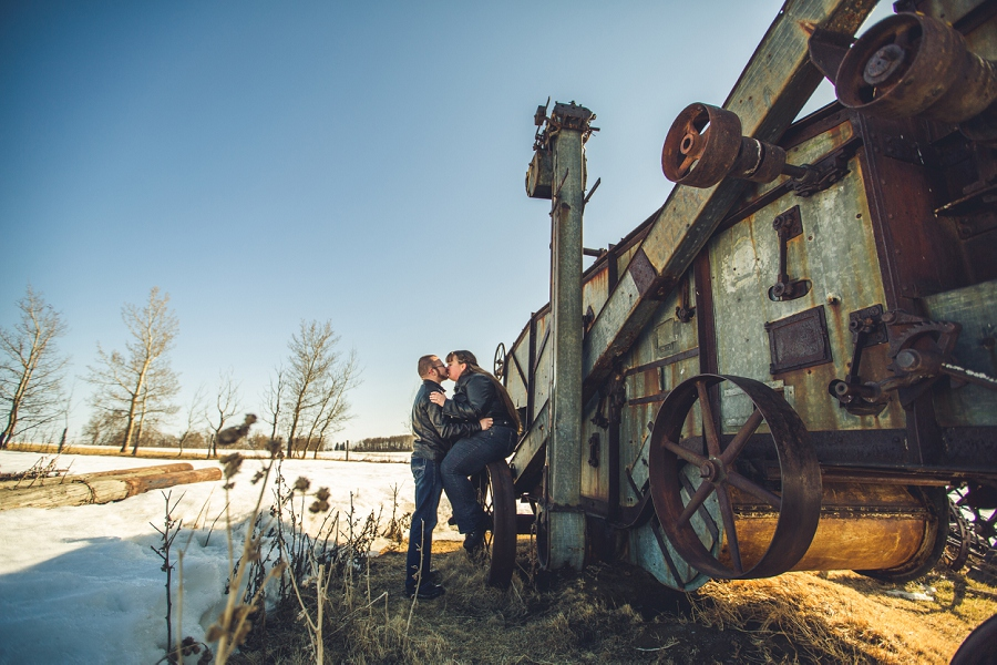 farmer's equipment engagement session calgary alberta anna michalska photography