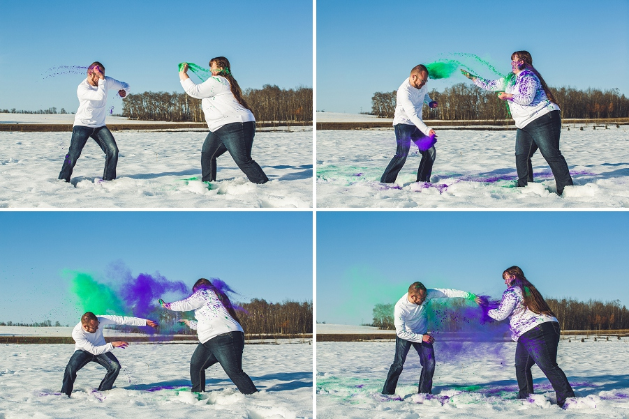 fun holi powder engagement session fight anna michalska calgary engagement session