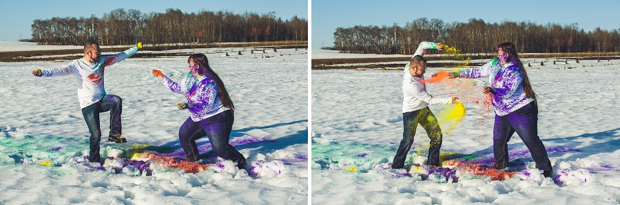 fighting with holi powder engagement session anna michalska calgary engagement session