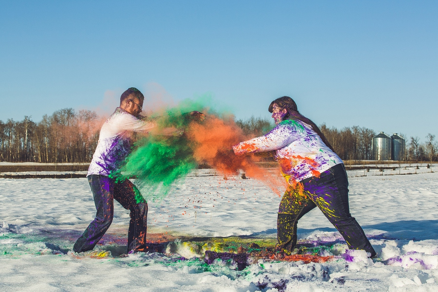 holi powder fight calgary anna michalska engagement session in snow