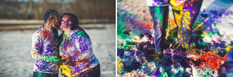 holi powder in snow engagement session calgary anna michalska photography
