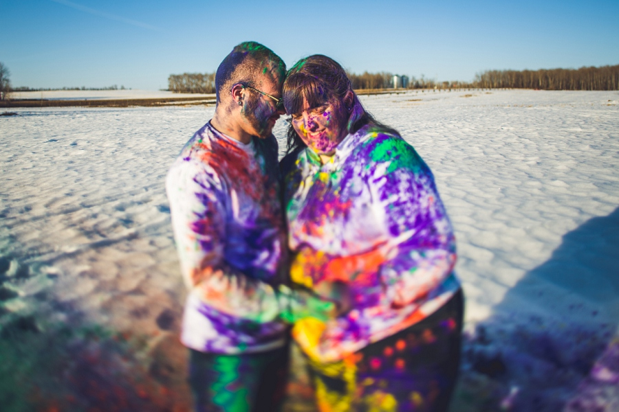holi powder engagement session calgary anna michalska snow