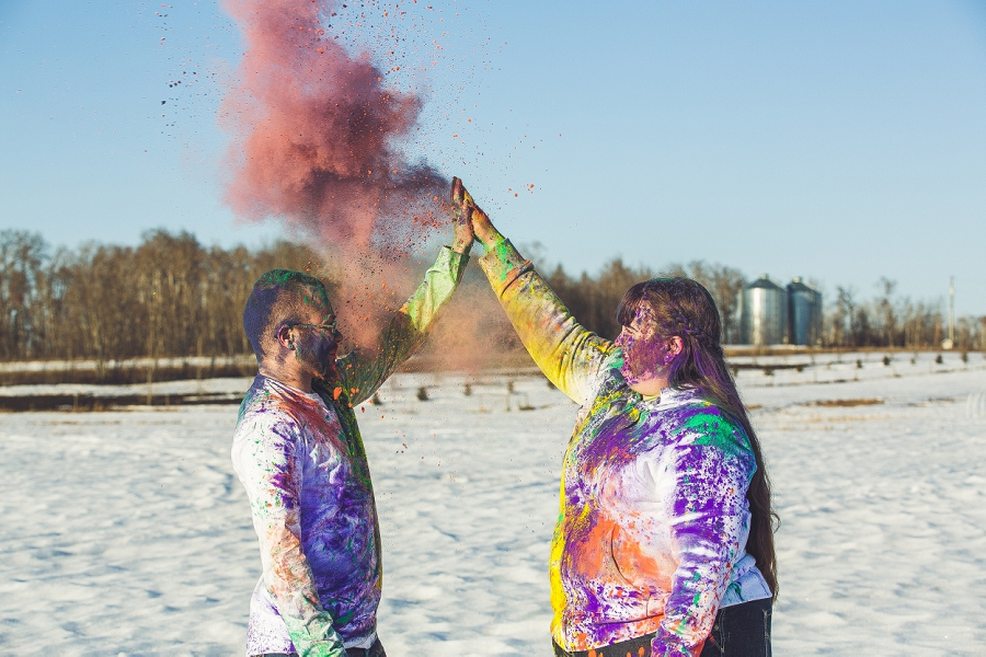 high five holi powder engagement session calgary anna michalska