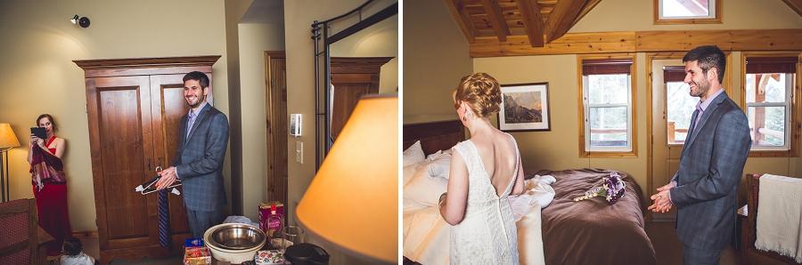 buffalo mountain lodge bride and groom first look anna michalska photography