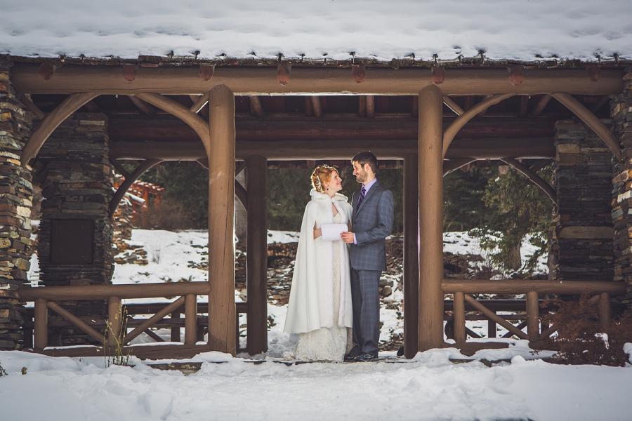cascade gardens winter wedding bride and groom standing anna michalska photography