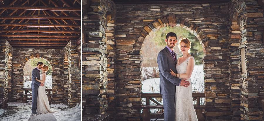 cascade gardens winter wedding brick building anna michalska photography