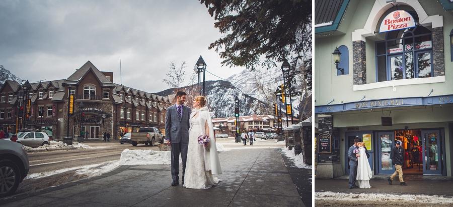 banff avenue downtown winter wedding