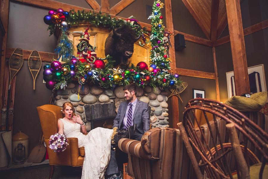 buffalo mountain lodge winter wedding christmas decorations anna michalska photography