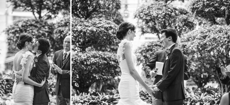 first kiss bride groom devonian gardens wedding
