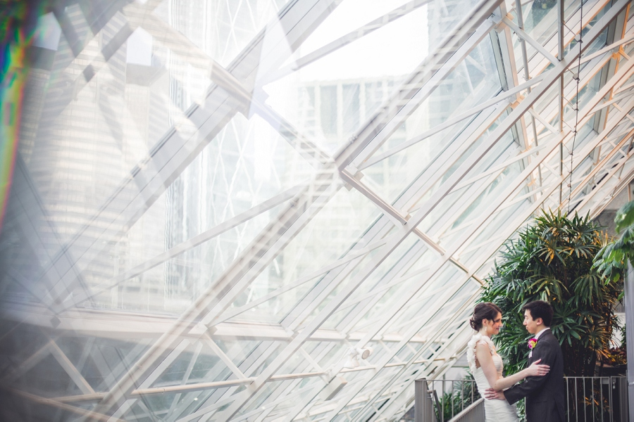 large window bride groom devonian gardens wedding