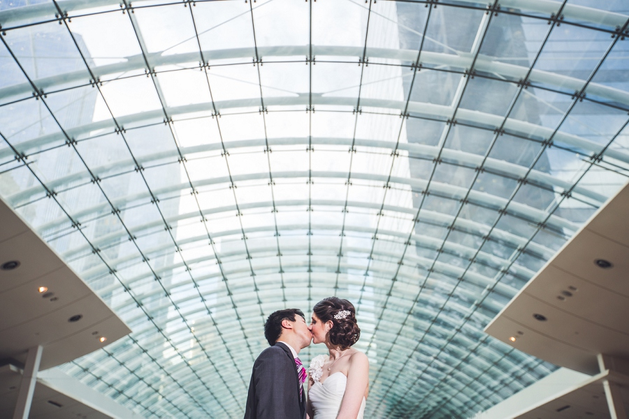 devonian gardens wedding bride and groom kiss TD square the core