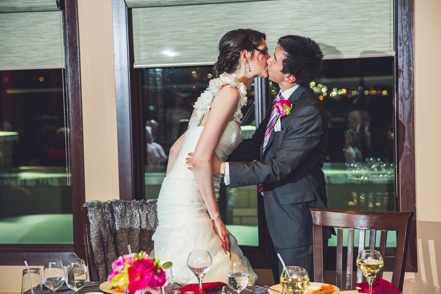 bride and groom kiss silver springs golf course calgary wedding photographer anna michalska