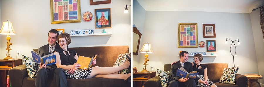 cute couple at home reading books winter engagement photos calgary anna michalska