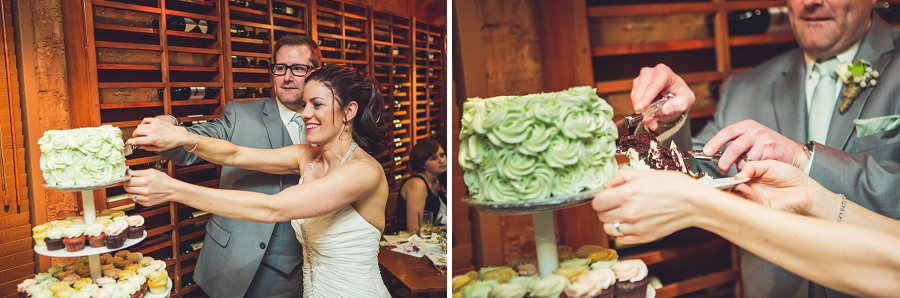 bride and groom cake cutting bonterra trattoria calgary wedding photographer anna michalska