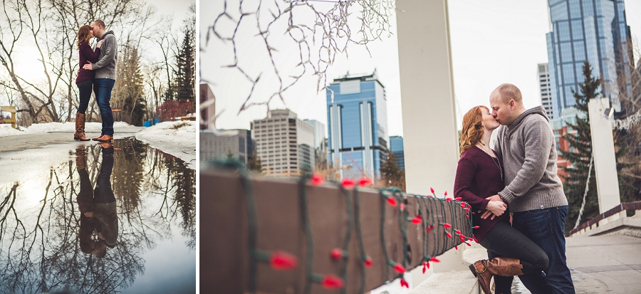 bridge kiss water reflection calgary winter engagement session anna michalska