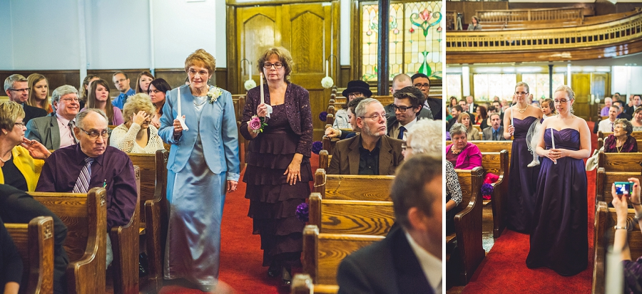 calgary wedding photographer anna michalska first baptist church walking with candles