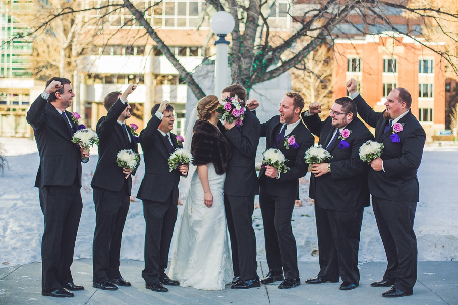 calgary wedding photographer anna michalska winter wonderland central memorial park groomsmen
