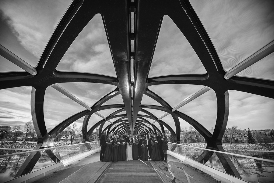 calgary wedding photographer anna michalska winter wonderland peace bridge bridal party black and white