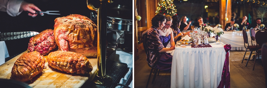 calgary wedding photographer anna michalska winter wonderland pinebrook golf & country club reception meal