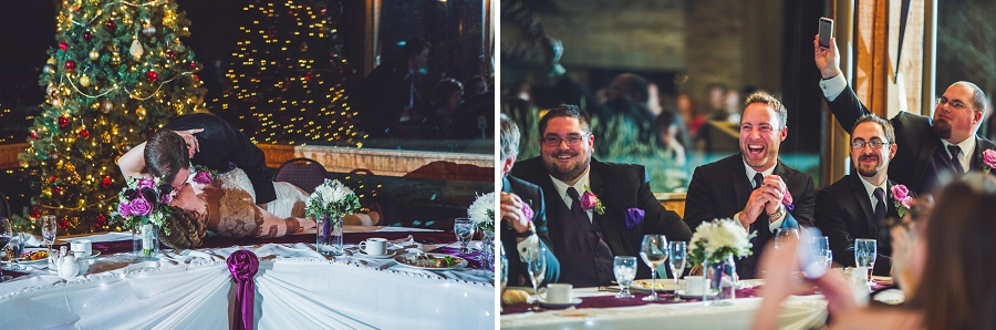 calgary wedding photographer anna michalska winter wonderland pinebrook golf & country club bride groom kiss