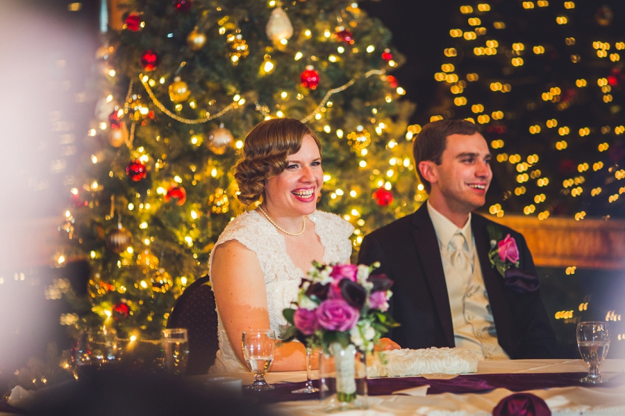 calgary wedding photographer anna michalska winter wonderland pinebrook golf & country club bride groom christmas tree