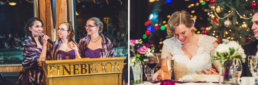 calgary wedding photographer anna michalska winter wonderland pinebrook golf & country club bridesmaid speeches