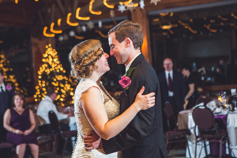 calgary wedding photographer anna michalska winter wonderland pinebrook golf & country club first dance smiling