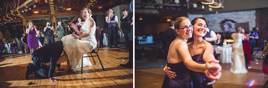 calgary wedding photographer anna michalska winter wonderland pinebrook golf & country club garter toss