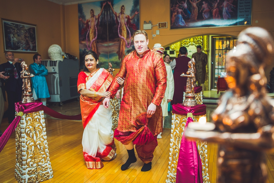 calgary hindu wedding hare krishna anna michalska groom walking down aisle