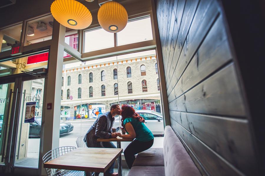 calgary downtown engagement photos deville coffee couple kiss anna michalska photography
