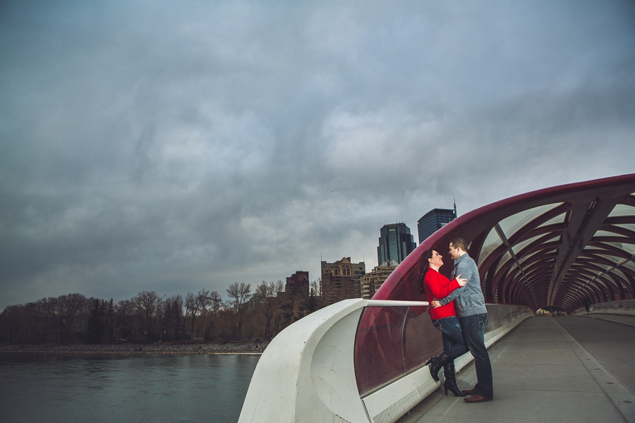 calgary downtown engagement photos peace bridge anna michalska photography stormy clouds