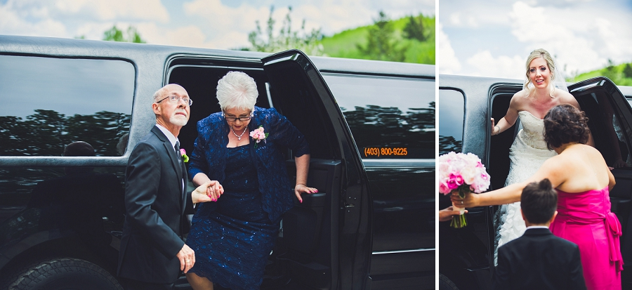 valley ridge golf calgary wedding photographer anna michalska parents and bride arrive limo